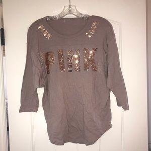 Tops - Victoria secret pink long sleeve rose gold shirt